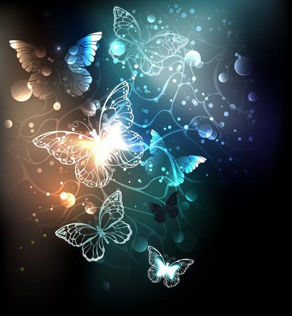 Night glowing butterflies on a luminous abstract background. Night butterflies. Design with butterflies.