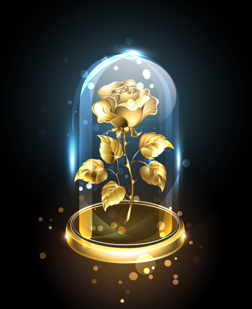 Gold jewelry rose under a transparent, shiny, glass bulb against a dark background. Golden Rose. Vector illustration.