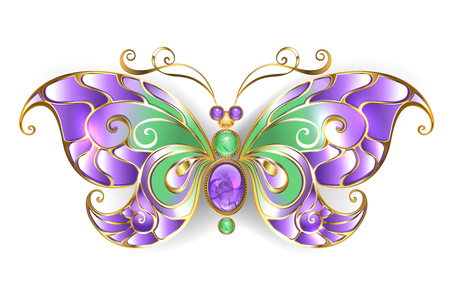 Gold butterfly, decorated with amethyst with wings of purple and green glass on a white background.