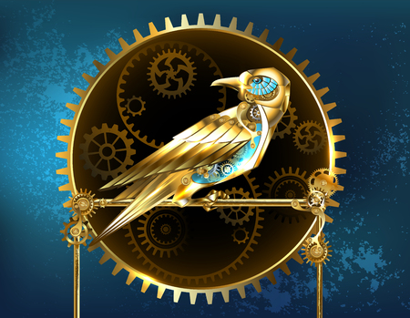 Mechanical, golden bird with brass gears on a turquoise background. Steampunk style.