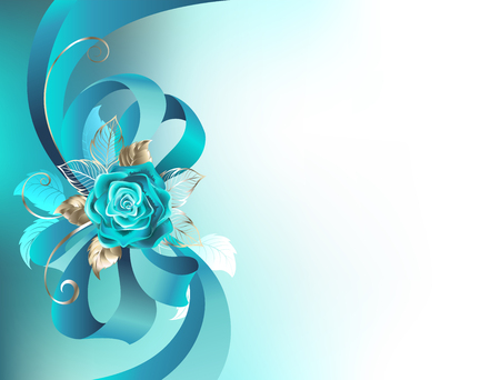 Turquoise silk bow with a turquoise rose with gold leaves on a light background. Fashionable color. Turquoise roses. Illustration