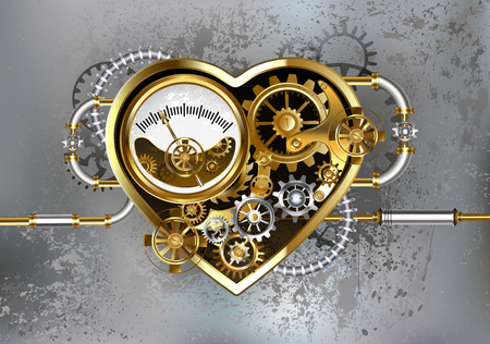 Mechanical heart with manometer, steel and gold gears on  gray industrial background. Industrial design.