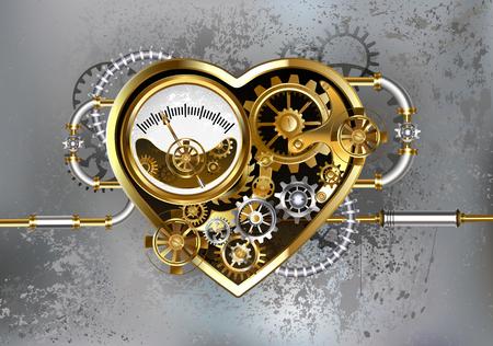 Mechanisches Herz mit Manometer-, Stahl- und Goldgängen auf grauem industriellem Hintergrund. Industrielles Design. Vektorgrafik