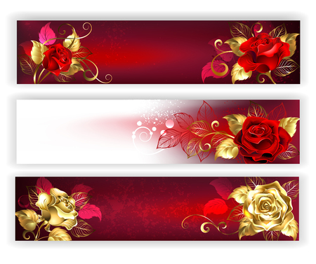 Three horizontal banners with red and gold jewelry roses with gold leaf. Golden roses. Design with roses.  Ilustrace