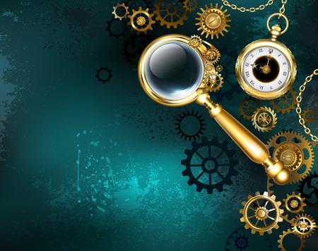 Eine antike Lupe mit goldenem Griff und konvexer Linse auf grünem Hintergrund mit Goldgängen und einer antiken Uhr. Steampunk-Stil. Vektorgrafik