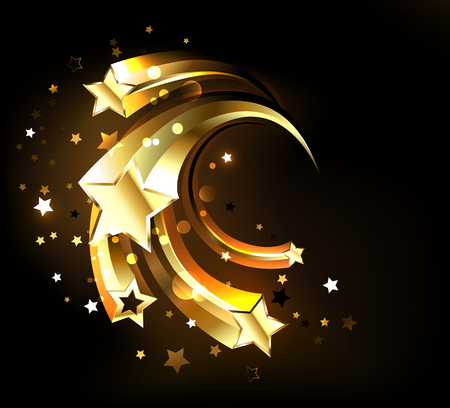 Five flying, golden, sparkling stars on a dark luminous background. Gold Star.