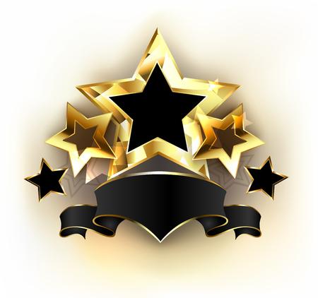 Five gold stars with  black velvet ribbon on white background. Design with gold stars. Concept of excellence. Illustration
