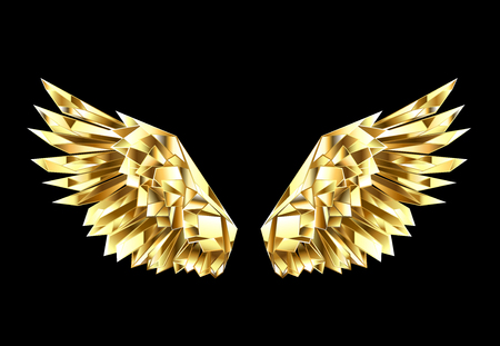 Gold, faceted, polygonal wings on a black background. Golden wings. Vectores