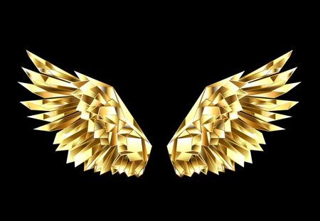 Ali d'oro, sfaccettate, poligonali su sfondo nero. Ali d'oro