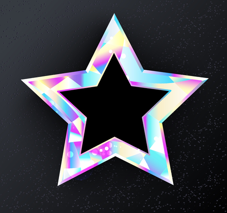Shining, glittering star from  holographic foil on  black background. Holographic star.  Illustration