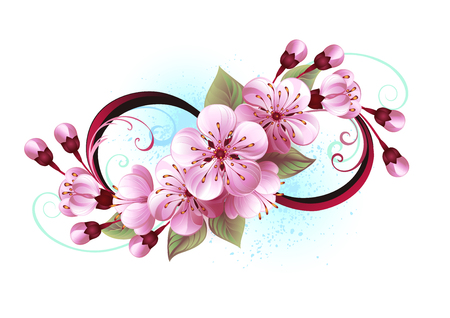 Symbol of infinity with flowers and leaves of blooming sakura blossoms on light backdrop, painted with blue paint.