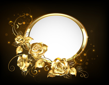 Oval banner with gold frame adorned with gold, intertwined roses with gold leafs on black backdrop.