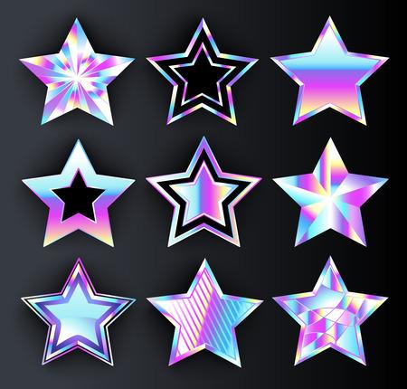 Set of holographic, bright, isolated, iridescent stars on black backdrop. Illustration