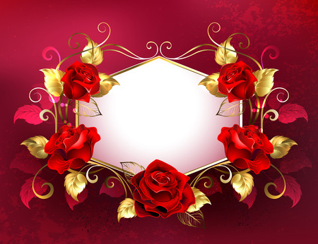 White signboard with red roses, decorated with golden leaves and stems on red backdrop.