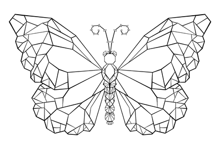 Polygonal butterfly monarch painted in black outline on white background. Butterfly Monarch. Polygonal graphics.