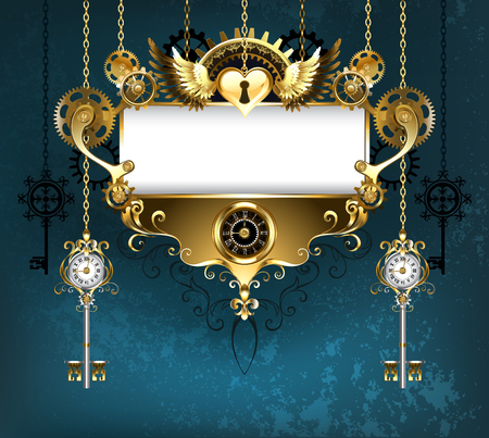 Symmetrical banner, decorated with pattern and golden gears on turquoise background. Steampunk style. Vectores