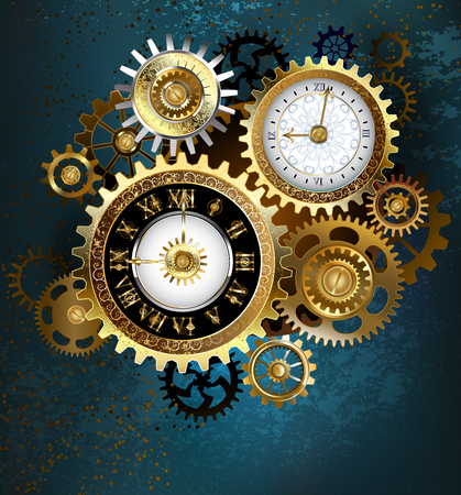 Two clock face with gold numbers and metal gears on turquoise background. Steampunk style. Banco de Imagens - 99976938