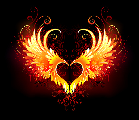 Angel fire heart with flaming wings on black background.
