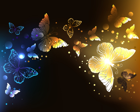 Fabulous, glowing, night butterflies on dark night background.