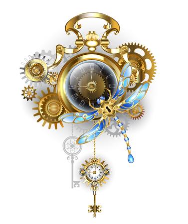 Orologio antico in oro con quadrante scuro Steampunk con ingranaggi meccanici a libellula, ottone e oro su sfondo bianco.