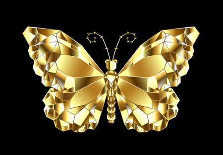 Gold, shiny, polygonal butterfly monarch on black background.
