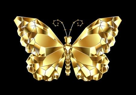 Goud, glanzend, veelhoekige vlindermonarch op zwarte achtergrond.