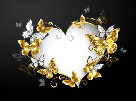 Banner in shape of heart, decorated with gold and white butterflies on black background.