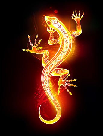 Salamandra dibujada artística de fuego y llama sobre fondo negro. Ilustración de vector
