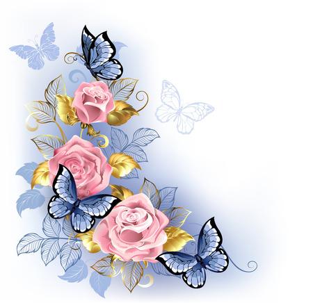 Drei rosa Rosen mit blauen und goldenen Blättern, auf denen blaue Schmetterlinge auf weißem Hintergrund sitzen. Rosenquarz und Gelassenheit.