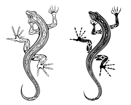 Two artistically drawn, contour, patterned lizards on white background. Tattoo style.