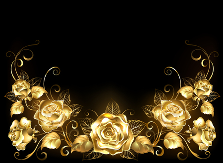 Gold, jeweler, shiny, intertwined roses on black background.