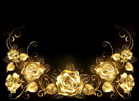 Gold, jeweler, shiny, intertwined roses on black background.  Illustration
