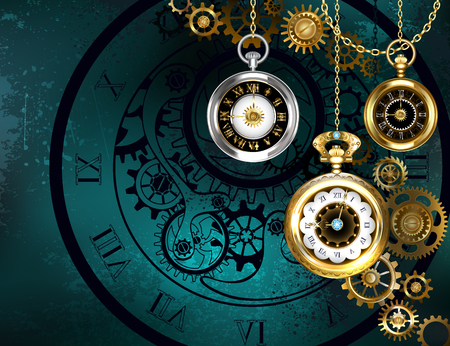 Jewelery, antique clock with gold chains on green textured background.