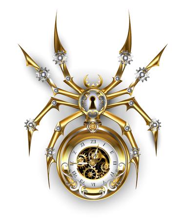 Araignée mécanique en or et acier avec une horloge ancienne ornée d'engrenages sur fond blanc.