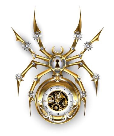 Mechanical spider made of gold and steel with an antique clock adorned with gears on white background.