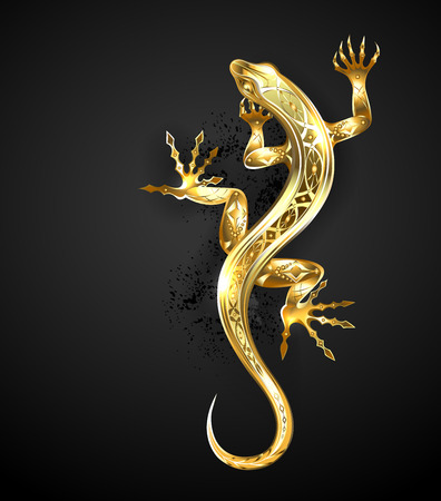 Jeweler, gold, patterned lizard on black background.