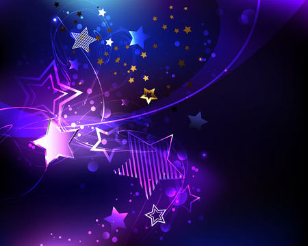 Dark cosmic background with  purple, glowing, abstract stars.