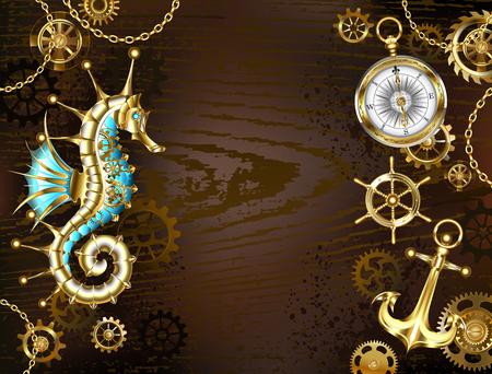 海、機械尾根、アンティークステアリングホイール、黄金のアンカー、様々な金と真鍮のギアと茶色の木製の背景。スチームパンクスタイル。 写真素材 - 106880141