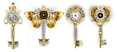 Satz antiker, goldener und silberner Schlüssel verziert mit Zifferblättern auf weißem Hintergrund.