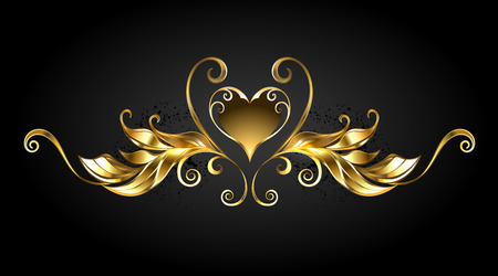 Gold, jewelry, shiny frame scroll with  heart symbol on black background. Illustration