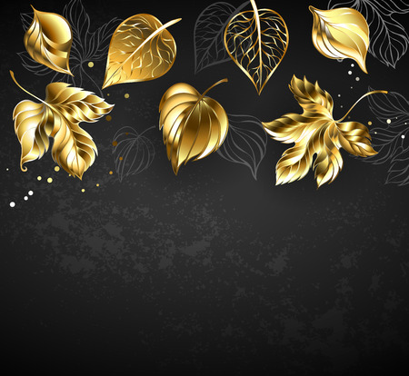 Gold, jewelry, shiny, autumn and contour gray leaves on black background. Çizim