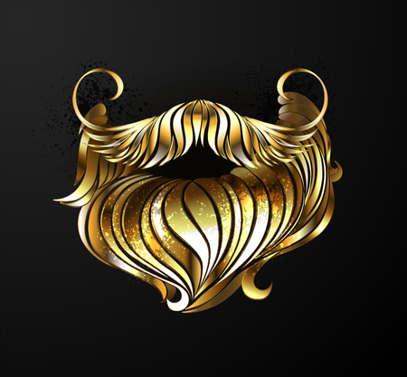 Artistically painted, beard of shining gold on black background.
