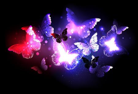 Enjambre de mariposas nocturnas que brillan intensamente en la noche, fondo negro.