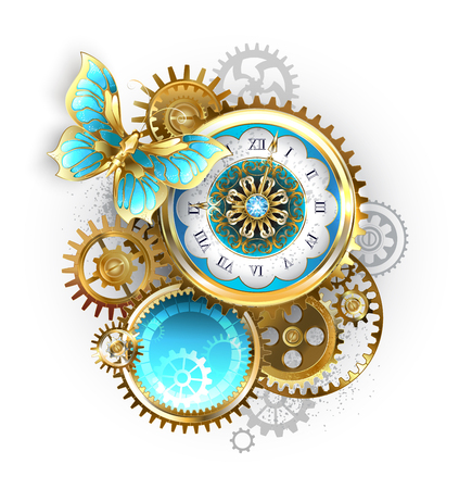 Antique clock, decorated with pattern, with gold butterfly and gold and brass gears on white background. Steampunk.