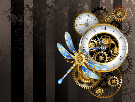 Antique dials with gold and brass gears, decorated with mechanical dragonfly on brown, striped background. Steampunk. 矢量图像