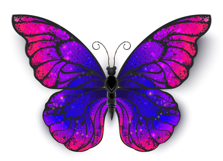 Tricolored butterfly morpho, painted in bisexual flag colors. Illustration