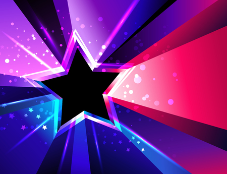 Tricolor, sparkling star with rays of pink, purple and blue.