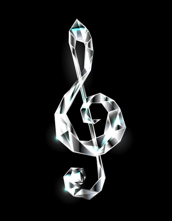 Musical key of transparent, faceted, sparkling crystal on black background.