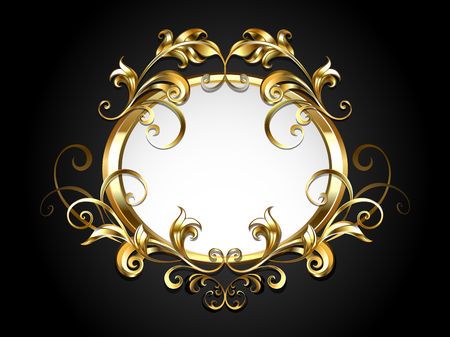 Golden oval banner, decorated with antique, volumetric,  patterned gold frame scroll on black background.