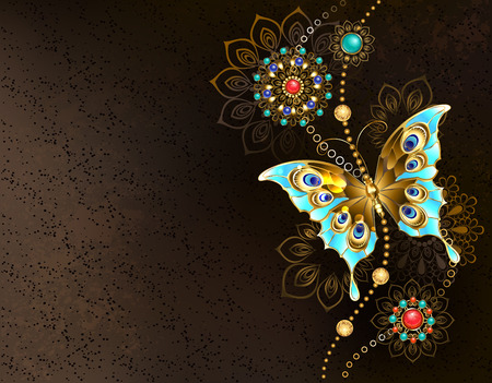 Textured brown background with jewelry turquoise butterfly and oriental ornaments. 일러스트